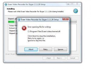 evaer video recorder upgrade error message