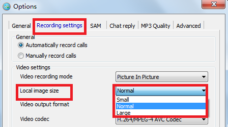 local image size to record your skype video