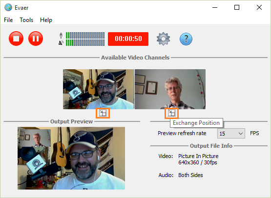 exchange video position during the recording