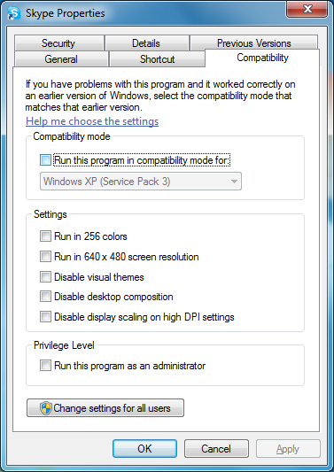 Disable Skype Compatibility Mode