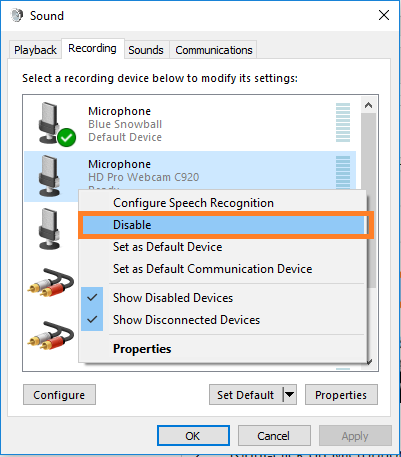 Disable Microphone device